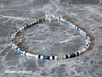 Blue Green, White & Silver Seed Bead Stacking Bracelet | Silver Sensations
